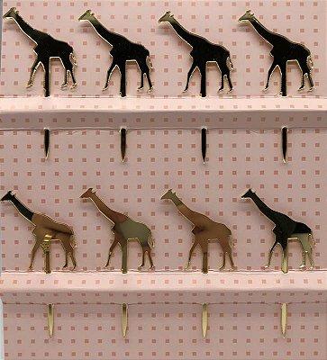 Topo de bolo acrílico dourado - Girafa (8 unidades)