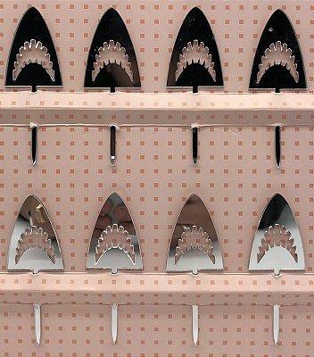 Topo de bolo acrílico prata - Rosto Tubarão (8 unidades)