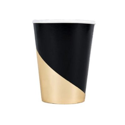 Copo de papel geométrico - Preto e Dourado (10 unidades)