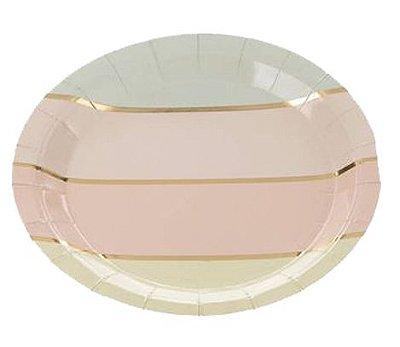 Prato de papel listras - Candy Color /Pastel (10 unidades)