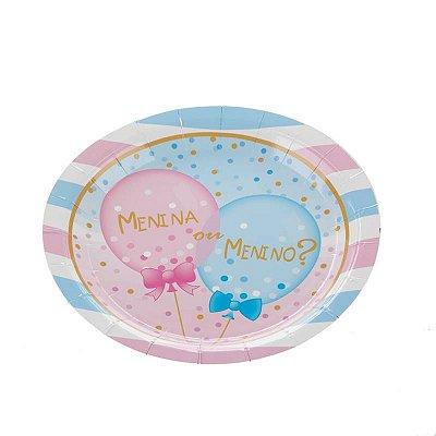 Pratinho de papel - Chá Revelação Menina ou Menino (18 cm - 10 un)