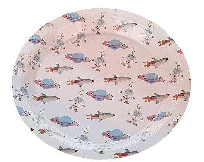 Prato de papel Aquarela - Espaço / Universo (18 cm - 10 unidades)