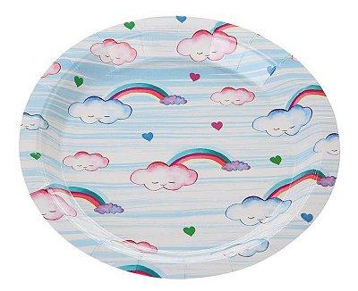 Prato de papel Aquarela - Nuvem (18 cm - 10 unidades)