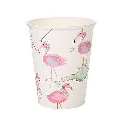 Copo de papel Aquarela - Flamingo (10 unidades)