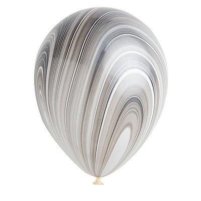 """Balão 11"""" látex - Marmorizado / Agate Preto (unidade)"""