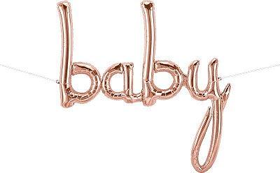 """Balão metalizado BABY - Ouro Rose 46""""- 79x86 cm (unidade)"""