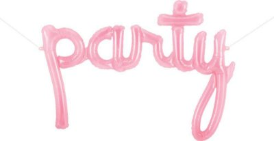 """Balão rosa translúcido - PARTY 44""""- 86x76 cm (unidade)"""