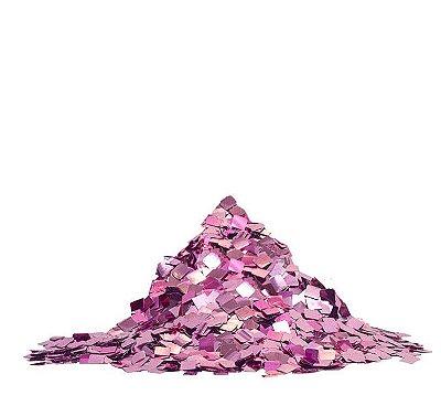 Mini Confete quadrado metalizado - Rosa  (25g)