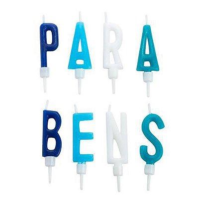 Vela PARABÉNS - Azul e branco (8 velas)