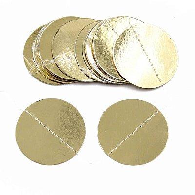 Bandeirola círculos - Dourada (20 peças 6.5 cm diâmetro - dupla face)