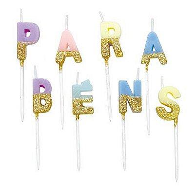 Vela Parabéns Glitter - tons pastel (8 velas)