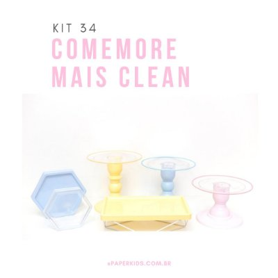 KIT COMEMORE MAIS CLEAN 34 - Amarelo Candy / Azul Candy / Rosa Candy