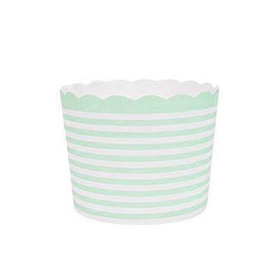 Formas de papel forneáveis para Cupcake - linhas Verde Candy (20 unidades)