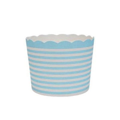 Formas de papel forneáveis para Cupcake - linhas Azul Claro (20 unidades)
