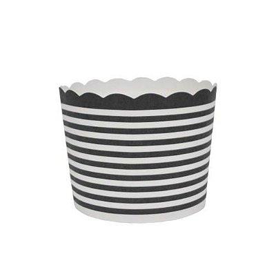 Formas de papel forneáveis para Cupcake - linhas Preto (20 unidades)