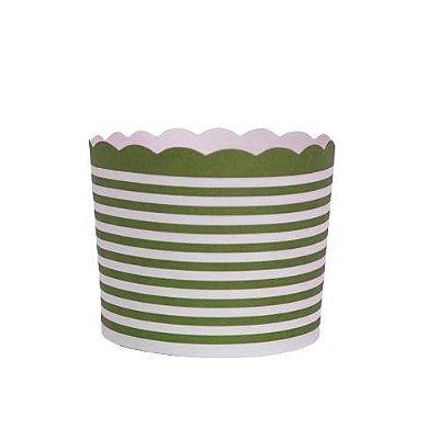 Formas de papel forneáveis para Cupcake - linhas Verde Escuro (20 unidades)