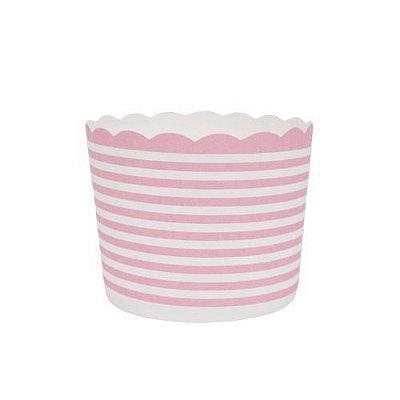 Formas de papel forneáveis para Cupcake - linhas Rosa (20 unidades)