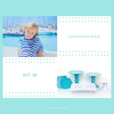 KIT COMEMORE MAIS 18 - Azul céu / Tiffany / Branco