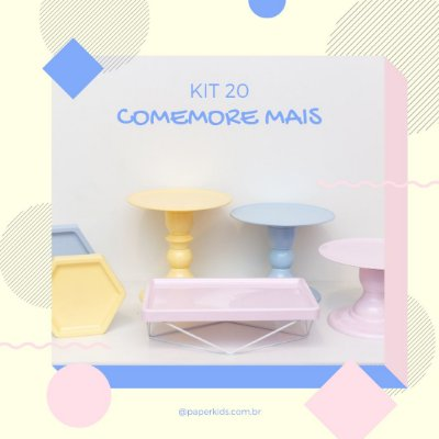 KIT COMEMORE MAIS 20 - Amarelo Candy / Rosa Candy / Azul Candy