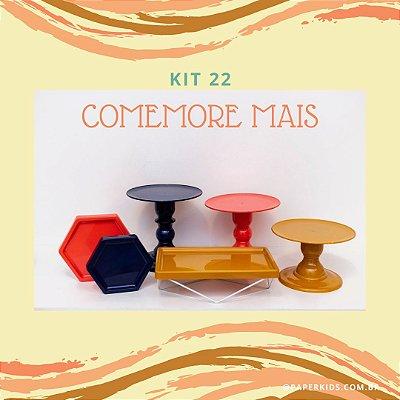 KIT COMEMORE MAIS 22 - Azul Marinho / Coral / Mostarda