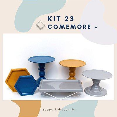 KIT COMEMORE MAIS 23 - Azul Petróleo / Cinza / Mostarda