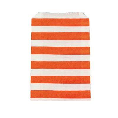 Saquinho de papel listras - Laranja 12x18 cm (12 unidades)
