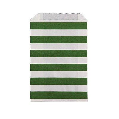 Saquinho de papel listras - Verde Escuro 12x18 cm (12 unidades)