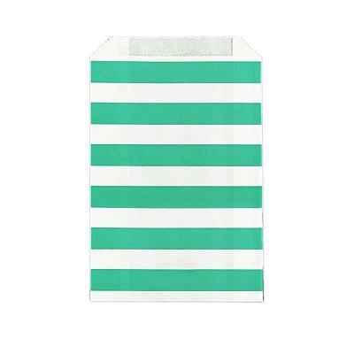 Saquinho de papel listras - Verde Água 12x18 cm (12 unidades)