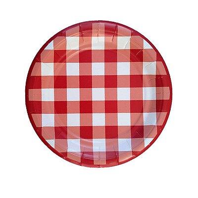 Pratinho de papel - Vichy Vermelho (19 cm - 8 unidades)
