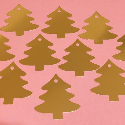 Tag dourada para presente - Árvore de Natal (10 unidades)