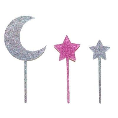 Topo de bolo acrílico - Lua e estrelas (Prata e Rosa - 3 peças)
