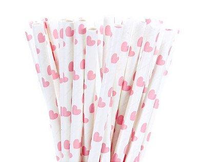 Canudo de papel coração rosa claro - 20 unidades