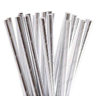 Canudo de papel metalizado Prata - 20 unidades