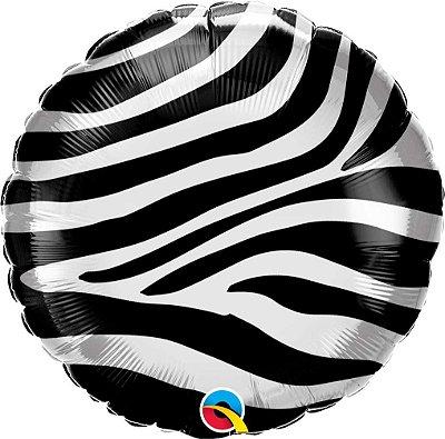 """Balão metalizado 18"""" - Listras de Zebra (unidade - 46 cm)"""