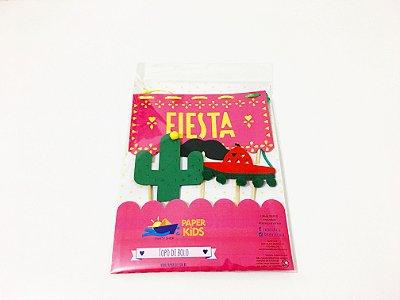 Topo de bolo personalizado - top cake FIESTA