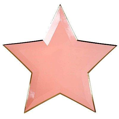 Prato de papel - Estrela Rosa (8 unidades - 27 cm)