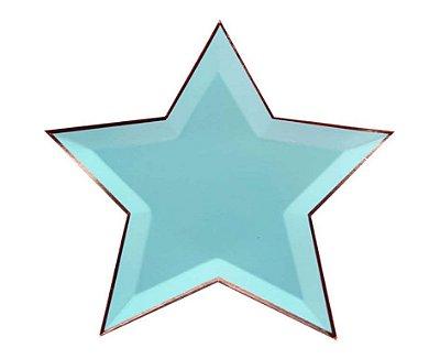 Prato de papel - Estrela Azul Água (8 unidades - 27 cm)