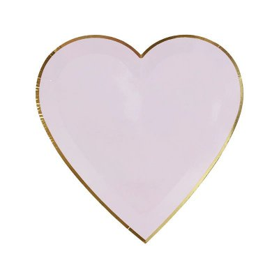 Prato de papel Coração - Lilás com filete dourado (8 unidades - 19 cm)