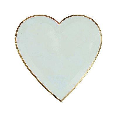 Prato de papel Coração - Verde Água com filete dourado (8 unidades - 19 cm)