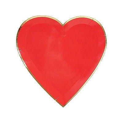 Prato de papel Coração - Vermelho com filete dourado (8 unidades - 19 cm)