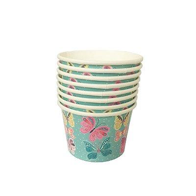 Potinho de papel - Borboletas (8 unidades - 6.5x9cm)