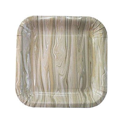 Prato de papel - Wood (8 unidades - 18 cm)