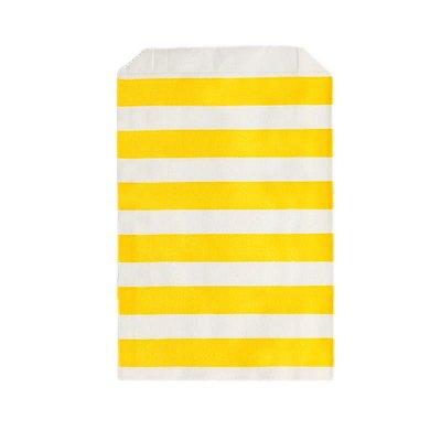 Saquinho de papel listras - Amarelo 12x18 cm (12 unidades)