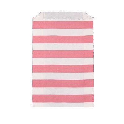 Saquinho de papel listras - Rosa 12x18 cm (12 unidades)