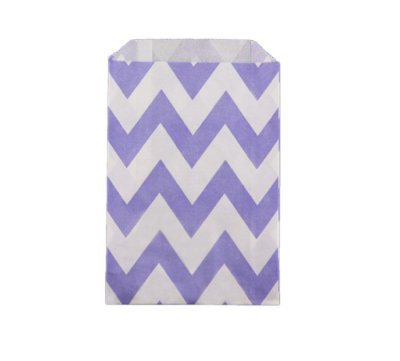 Saquinho de papel listras - Chevron Lilás 12x18 cm (12 unidades)