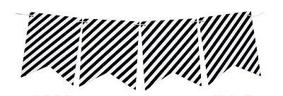 Bandeirola de papel listrada - Preto (12 peças + cordão)