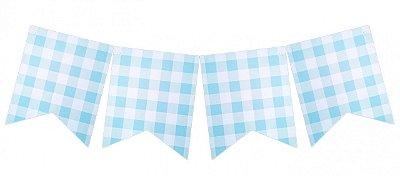 Bandeirola Vichy / Xadrez - Azul Claro (12 peças + cordão)