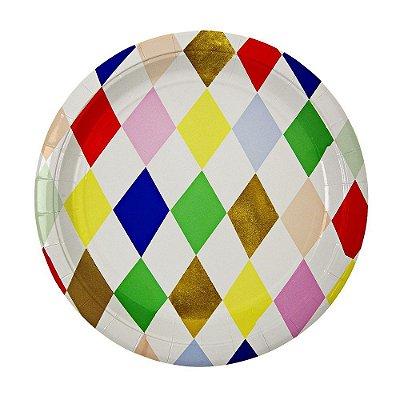 Prato de papel - Losangos Coloridos (23 cm - 8 unidades)