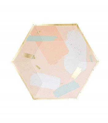 Prato de papel geométrico - Candy e Dourado (23x20 cm - 8 unidades)