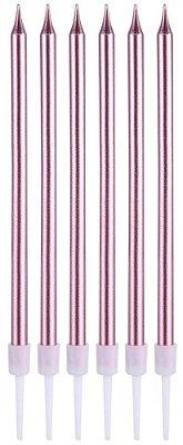 Vela metalizada - Rosa Malva (6 velas com pezinhos - 11 cm)